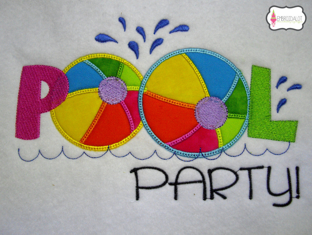 """Pool Party!"" applique embroidery."