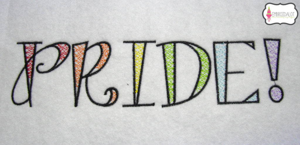 "LGBT ""PRIDE!"" embroidery."