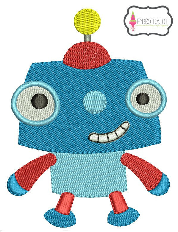 Cute robot embroidery.