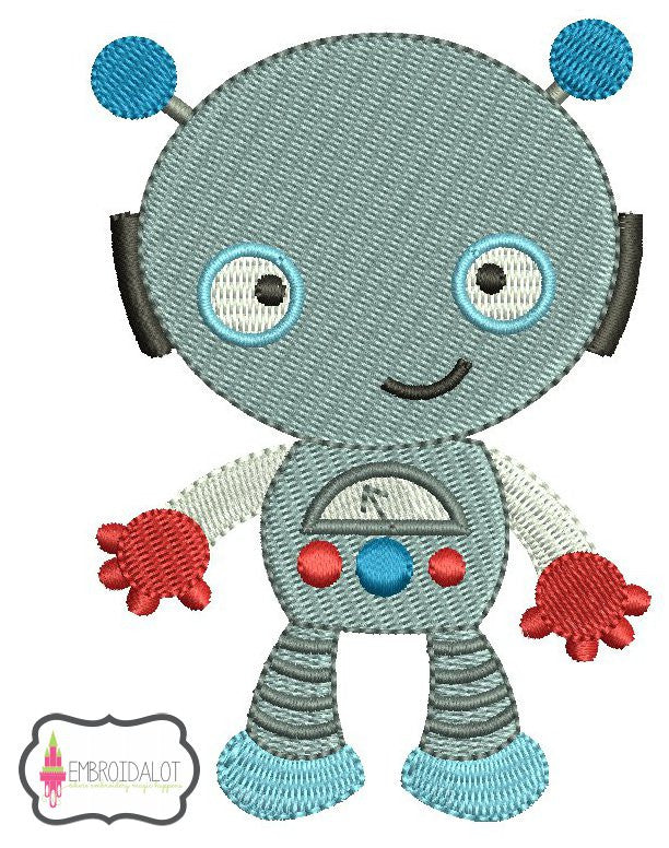 Cute robot embroidery 2.