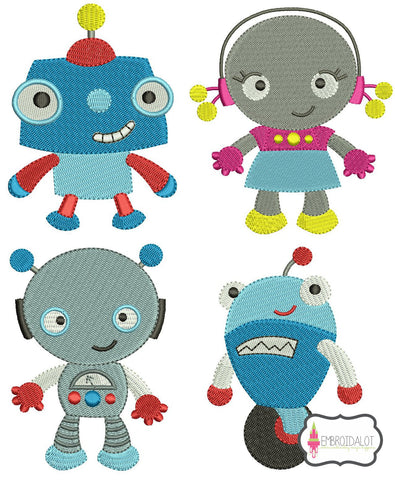 Cute robot embroidery set.