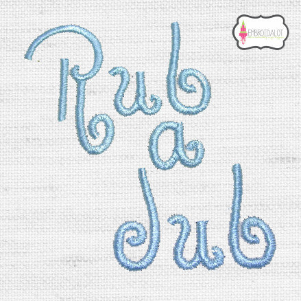 """Rub a Dub"" bath time embroidery."