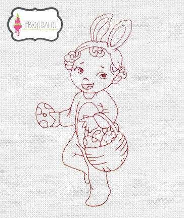 Girl with easter basket redwork embroidery.