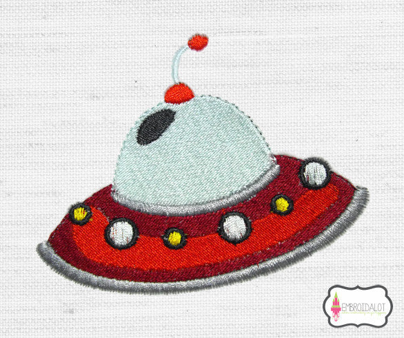 Spaceship embroidery.