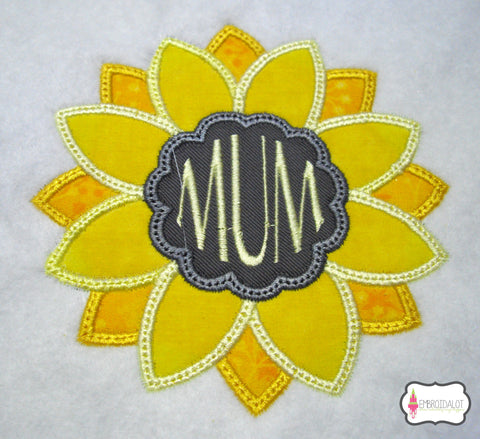 Sunflower frame applique.
