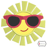 Cool sun with sunglasses applique.