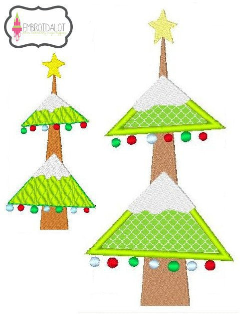Christmas tree embroidery design.