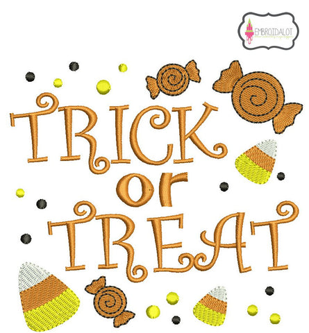 """Trick or Treat"" embroidery."