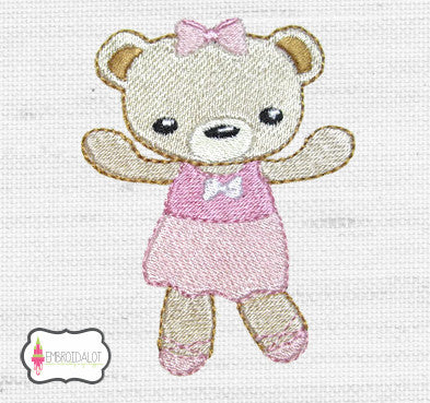Ballerina bear embroidery 1.