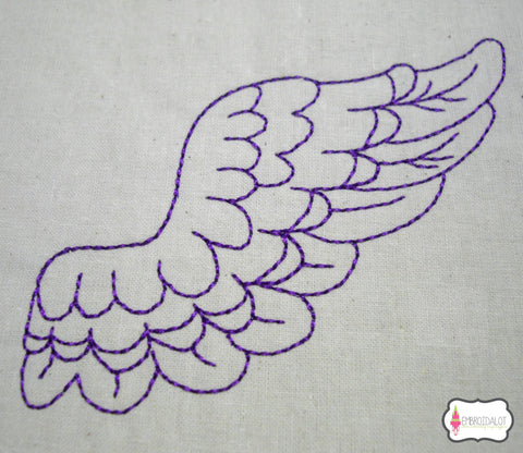 Redwork angel wing embroidery. no2.