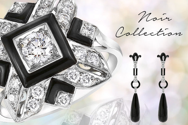 Noir onyx and diamond designer jewellery