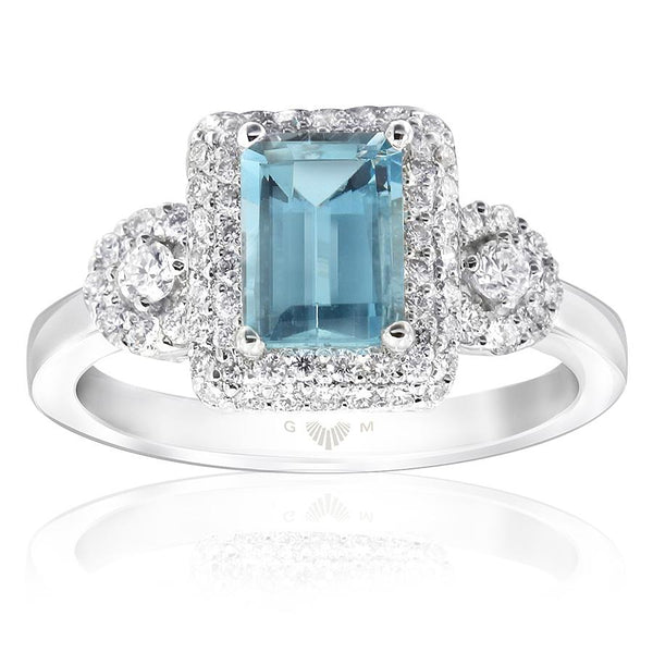 Gerard McCabe Aquamarine and Diamond Ring