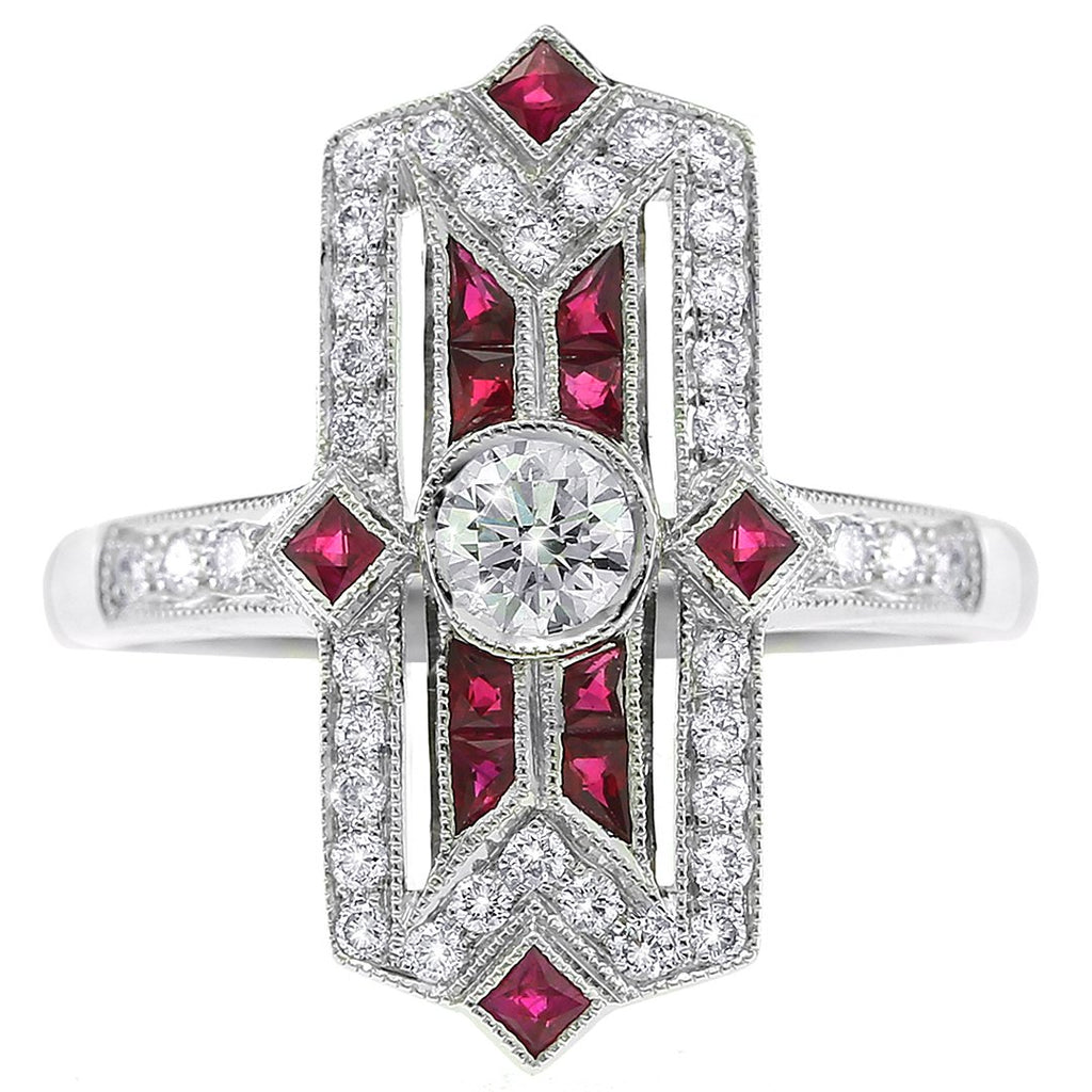 Gerard McCabe Ruby & Diamond Deco Ring