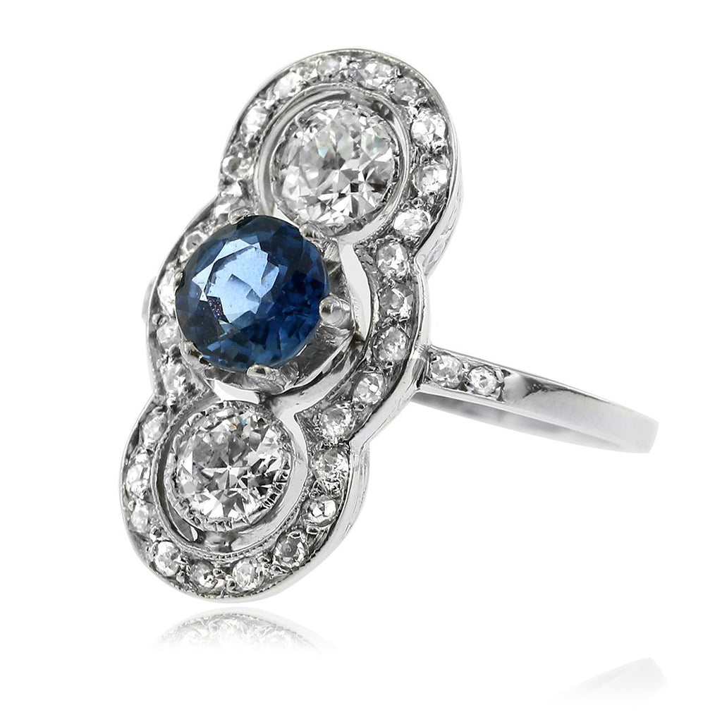 Gerard McCabe Art Deco Sapphire and Diamond Cluster Ring