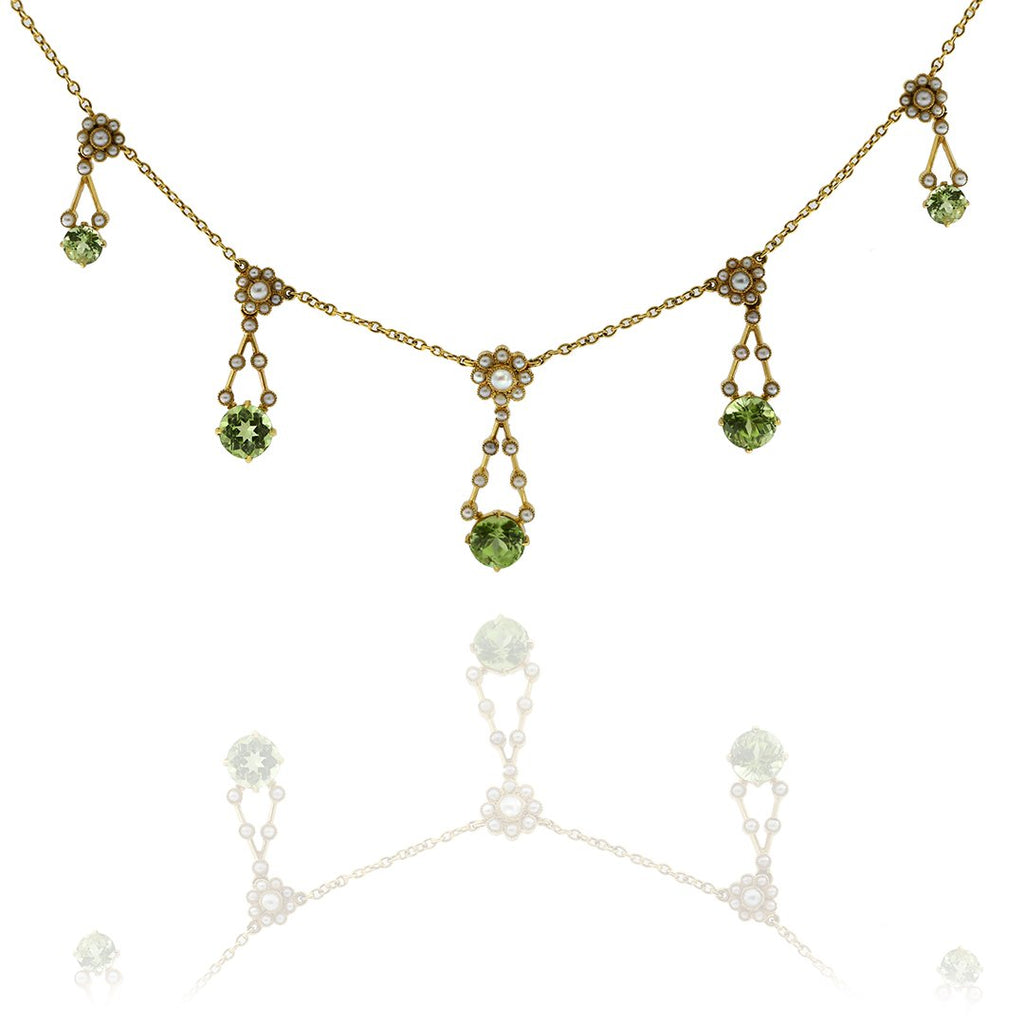Gerard McCabe Antique Peridot and Pearl Necklet