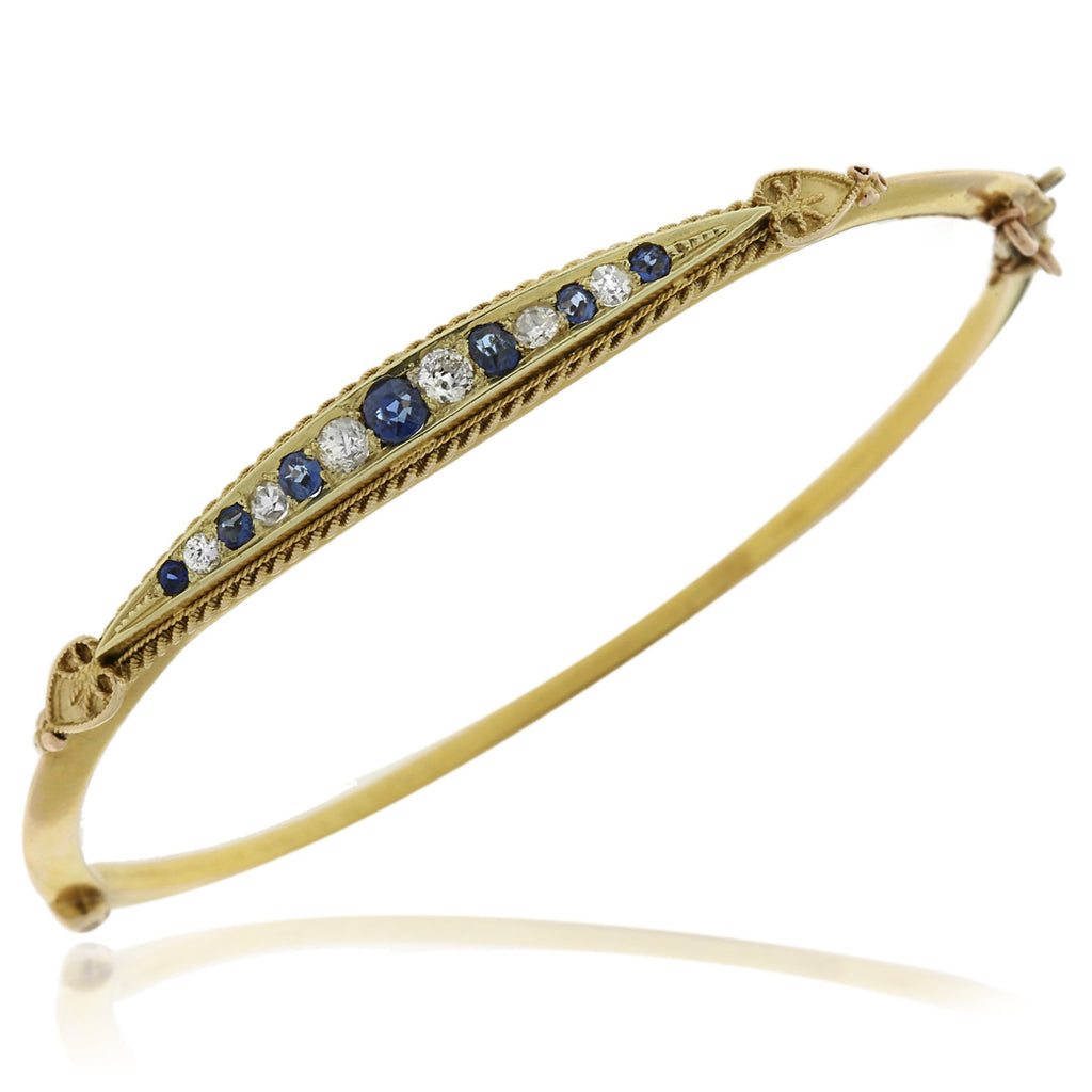 Gerard McCabe Antique Sapphire and Diamond Bangle