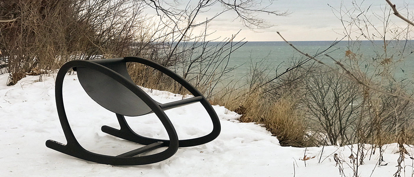 Award winning Wye Rocker perched in the snow by a lake