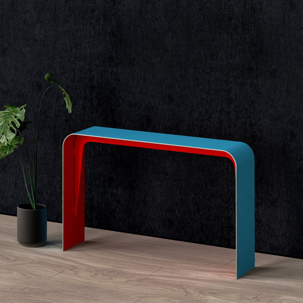 Aurora aluminum console table in red/blue shown in perspective
