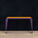 Aurora aluminum console table in purple/orange