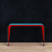 Aurora aluminum console table in red/blue
