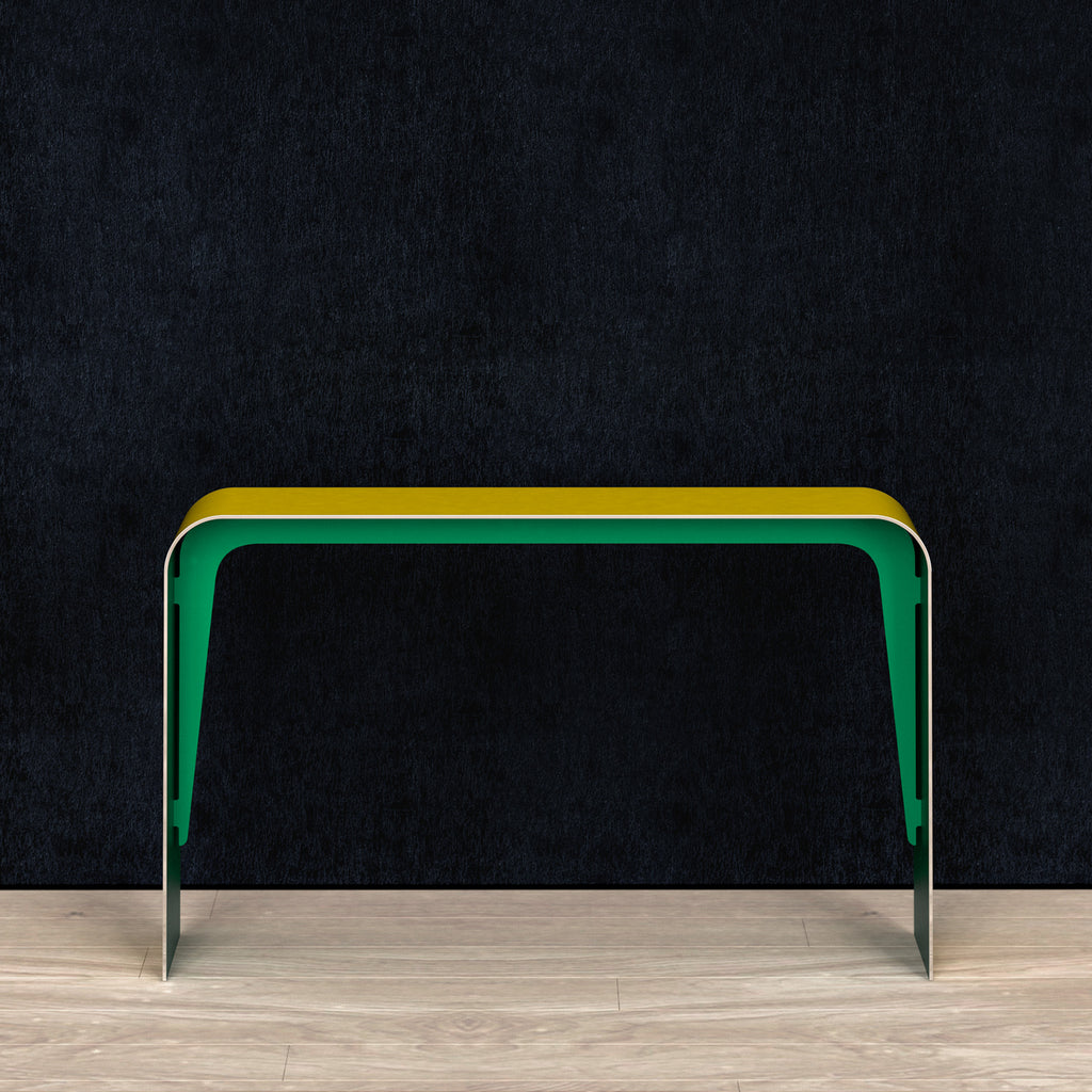 Aurora aluminum console table in yellow/green