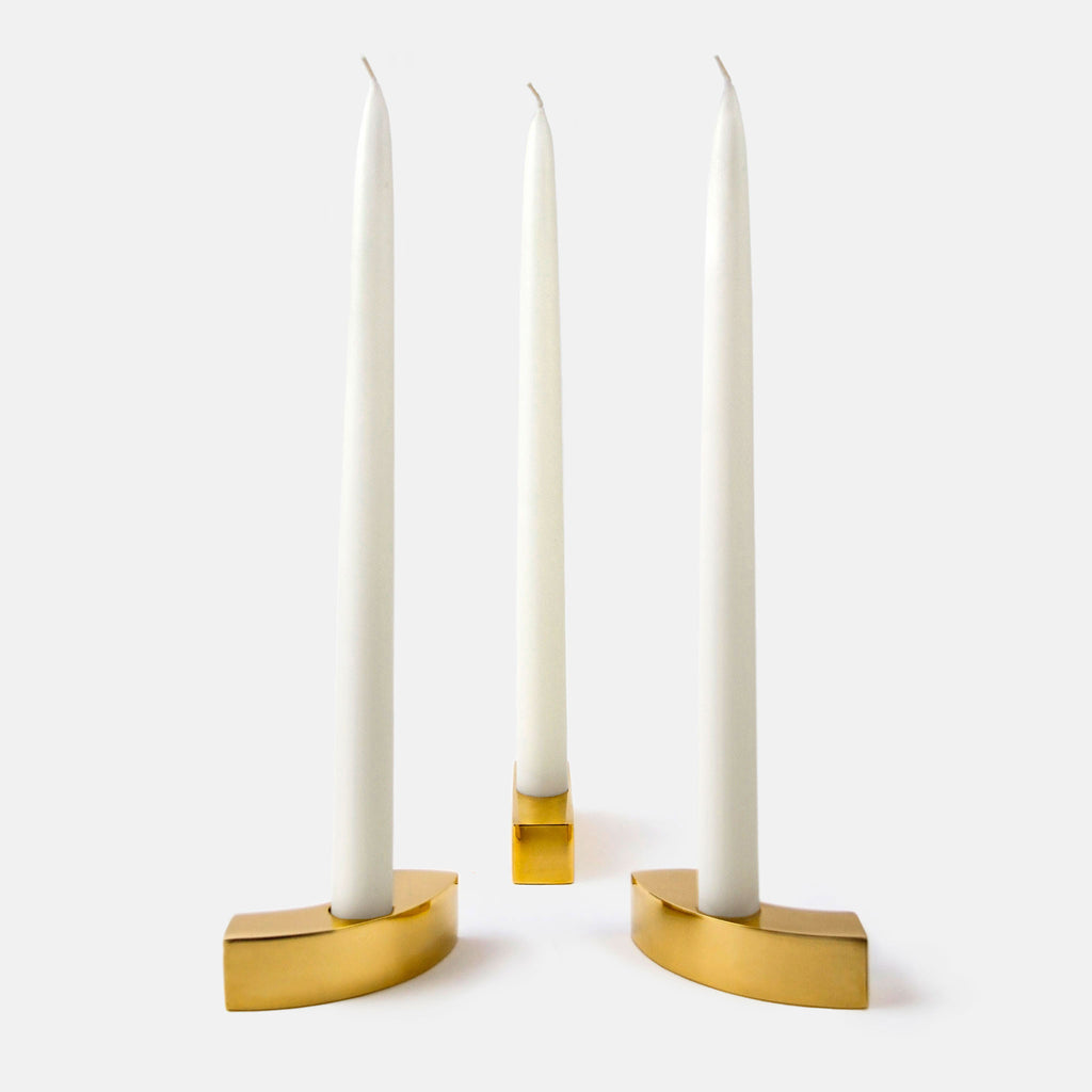 River of lights candle holders (set of three) shown with candles. Candles not included