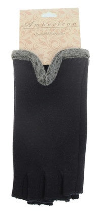 Fingerless Gloves - Navy Faux Fur Trim