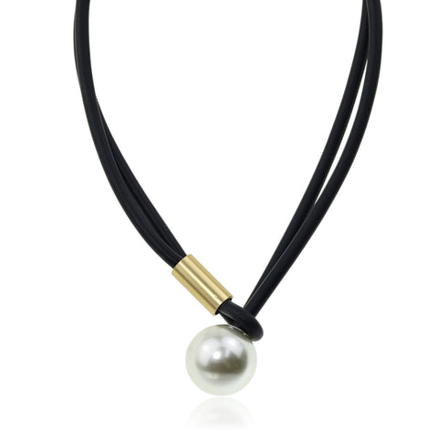 Fashion Necklace Rubber Cord with Pearl