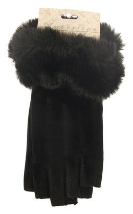 Fingerless Gloves - Velvet with Faux Fur Trim - Black