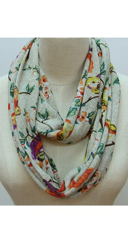 Infinity Scarf - Bird On A Branch Beige