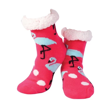 Nuzzles Sherpa Socks - Flamingos Hot Pink