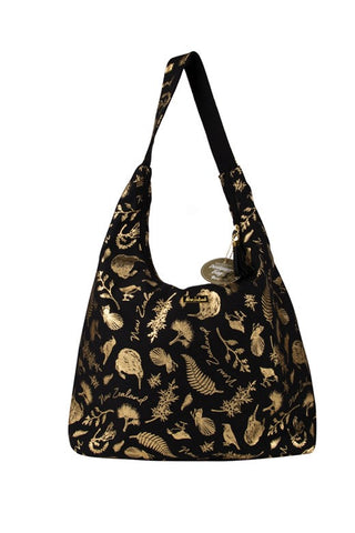 Shoulder Bag Black and Gold Birds