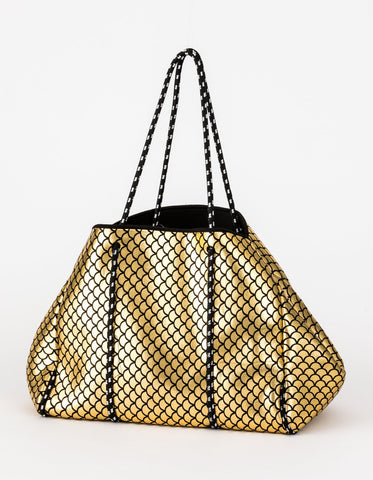 Neoprene Tote Gold with Black Scales