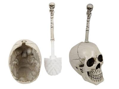 Skull Toilet Brush & Holder