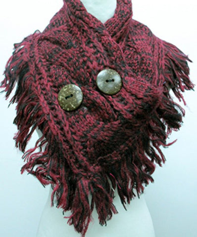 2 Button Red Scarf