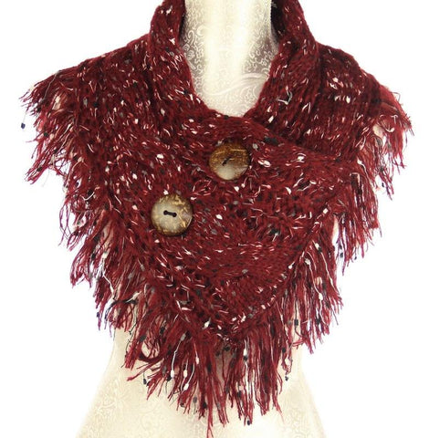 Textured 2 Button Snood Wine