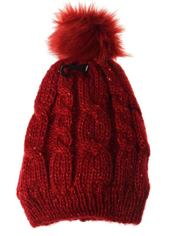 Sequin Beanie Red