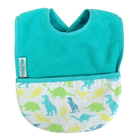 Silly Billyz Fleece Pocket Bib Aqua Dinosaurs