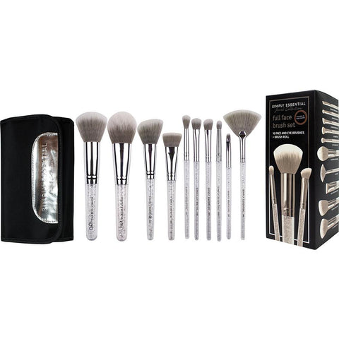Simply Essential 10pc Full Face Brush Set - Silver