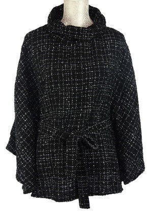 Grids Poncho with Belt