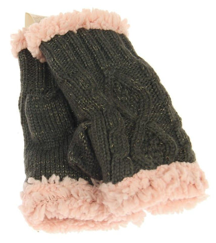 Knit Fingerless Gloves - Charcoal