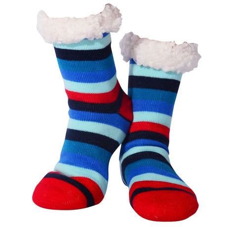 Nuzzles Sherpa Socks - Mens Stripes Red