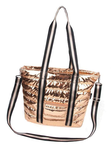Punch Puffer Tote Bag Rose Gold