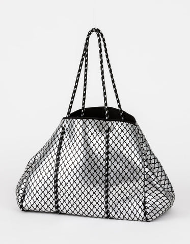 Neoprene Tote Silver with Black Scales