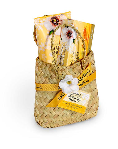 Wild Ferns Manuka Honey Skincare Flax Kete Gift Basket