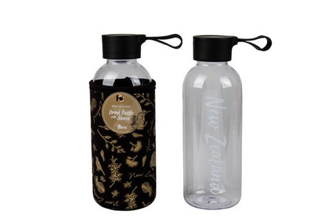 Drink Bottle with Sleeve Black & Gold Birds