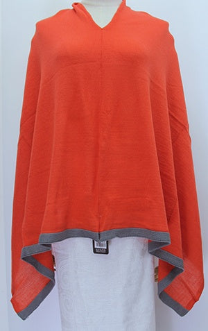 Poncho -Grey Trim Rusty