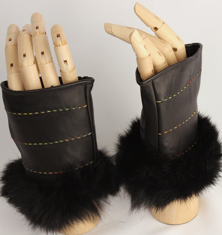 Fingerless Leather Gloves with Fur Cuff