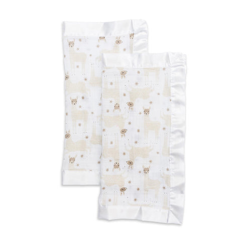 Muslin Security Blanket 2 pack Llama