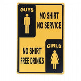 No Shirt No Service Sign